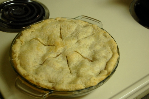 Homemade apple pie on the stove