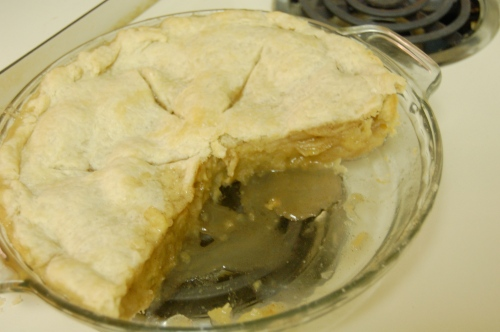 Homemade apple pie with several pieces missing