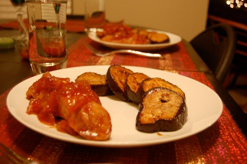 Asian pork ribs and broiled eggplant for dinner