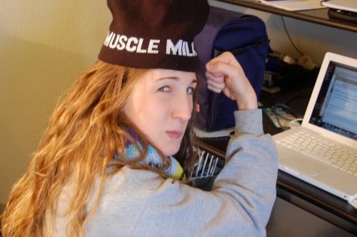 Flexing my muscles in a muscle milk hat