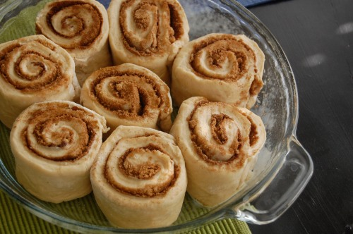 Unbaked cinnamon rolls in the pan