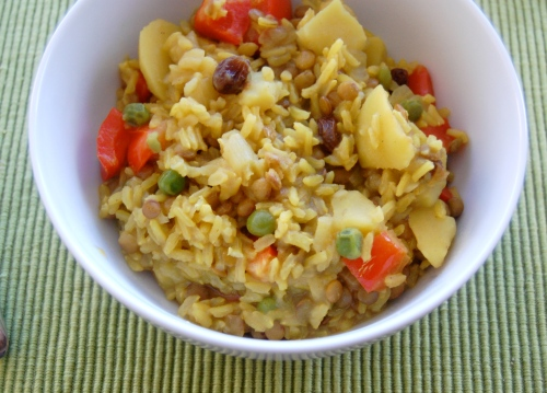 Bowl of Indian spiced rice with vegetables