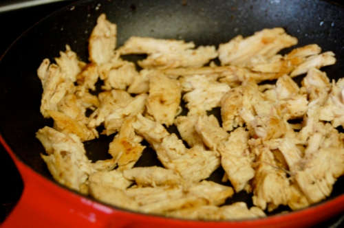 Sautéed shredded chicken breast