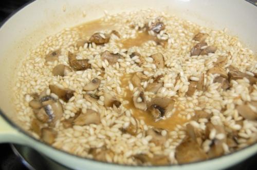 Making mushroom risotto