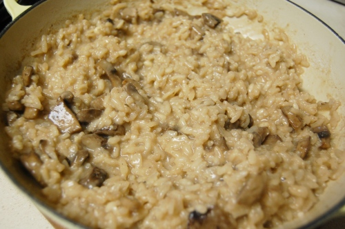 Finished mushroom risotto