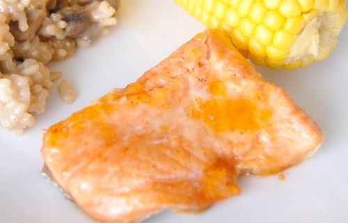 Apricot salmon with mushroom risotto and corn on the cob