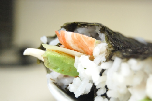 Close-up of sushi roll