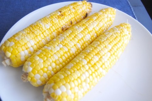 Corn cobs with husk removed