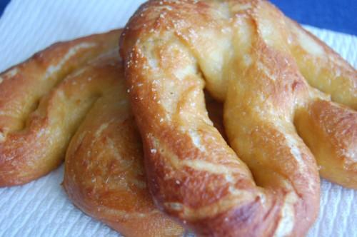 Soft warm pretzels
