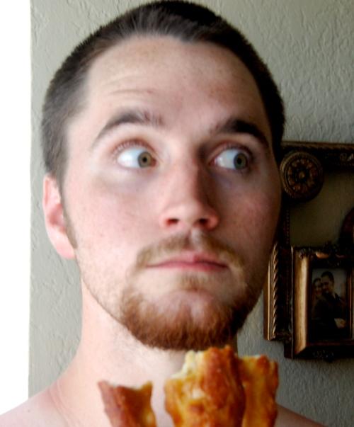 Stephen sneaking a pretzel