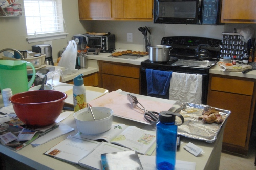 My messy kitchen after cooking