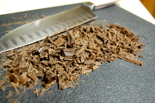 Chopped-up chocolate