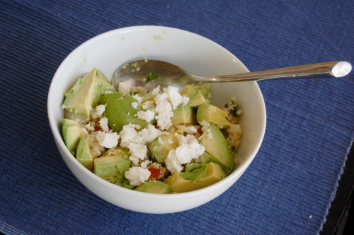 Bowl of avocados and quinoa