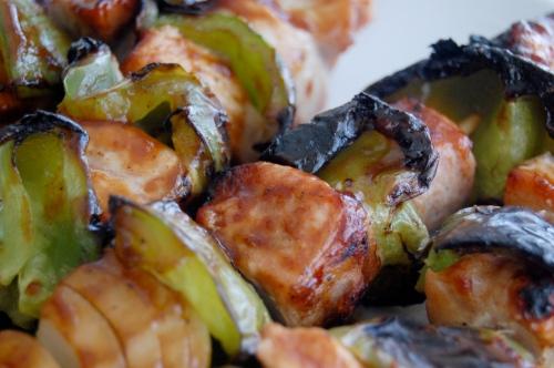 barbeque pork skewers close-up