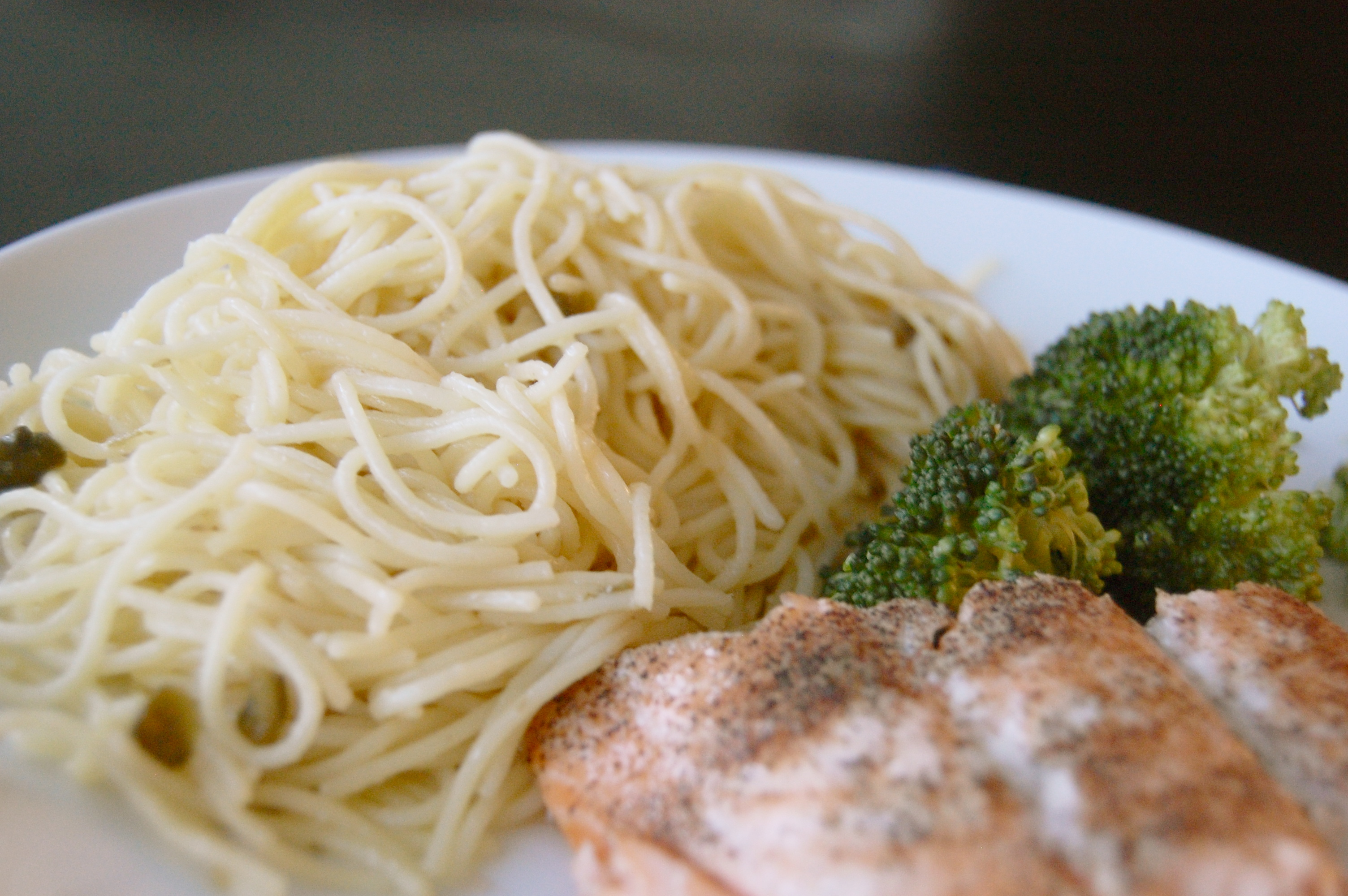 White Wine Lemon Butter Pasta With Capers Beside Salmon And Broccoli