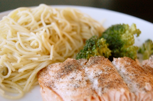 Salmon and broccoli with white wine lemon butter noodles with capers