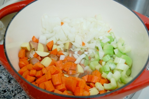 Pot of chopped vegetables