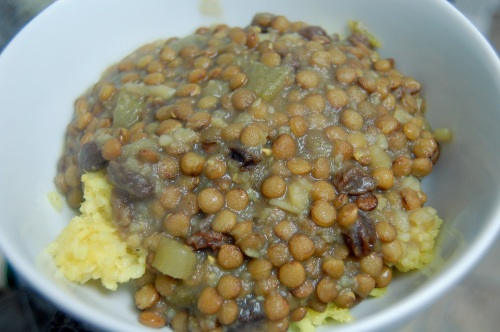 Curried lentils with basmati
