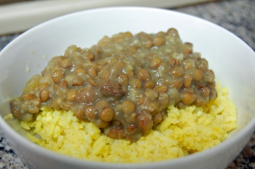 Curried lentils with rice