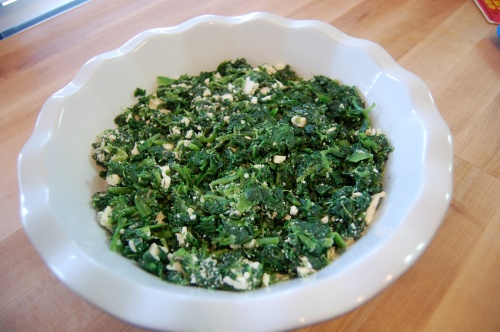 spinach in pie dish